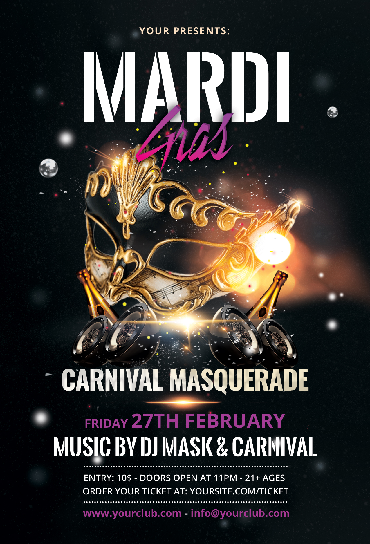 Mardi Gras Free Black & Gold PSD Flyer Template