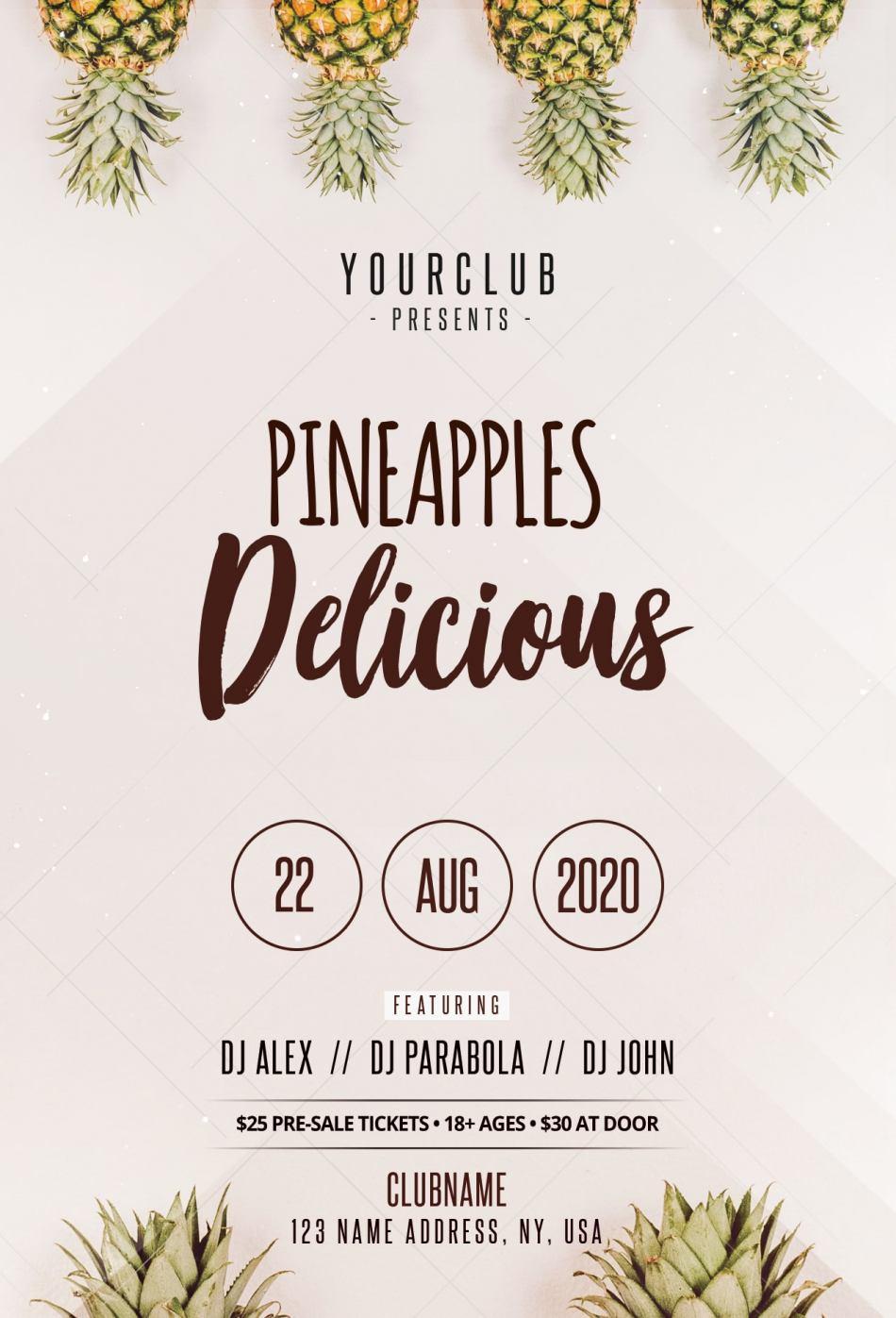 Pineapples Invitation - Minimal Free PSD Flyer Template