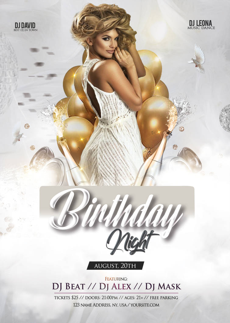 Birthday - White Elegant Free PSD Flyer