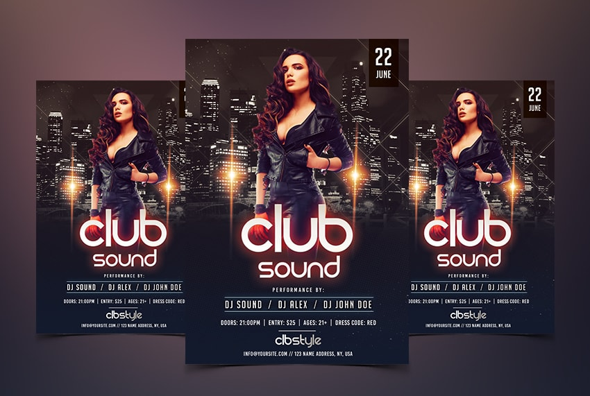 Club Sound Vibe PSD Free Flyer Template