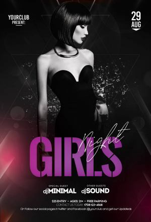 Girls Party Out Free PSD Flyer Template