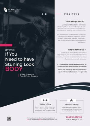 Gym Fitness PSD Free Flyer Template