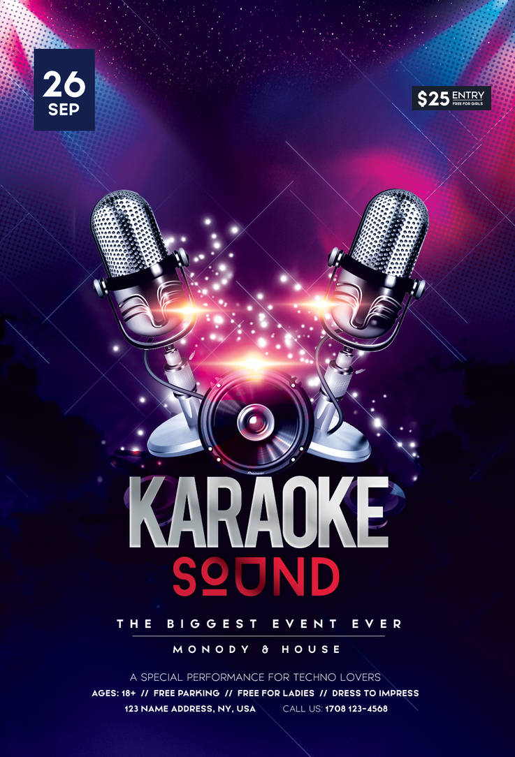 Karaoke Night PSD Free Flyer Template