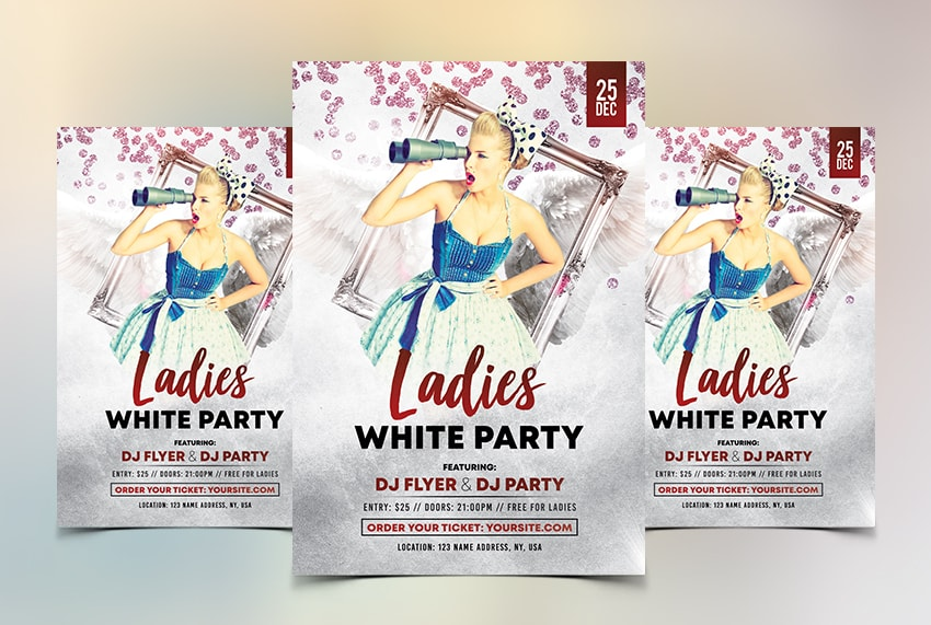 Ladies Party Free White PSD Flyer Template