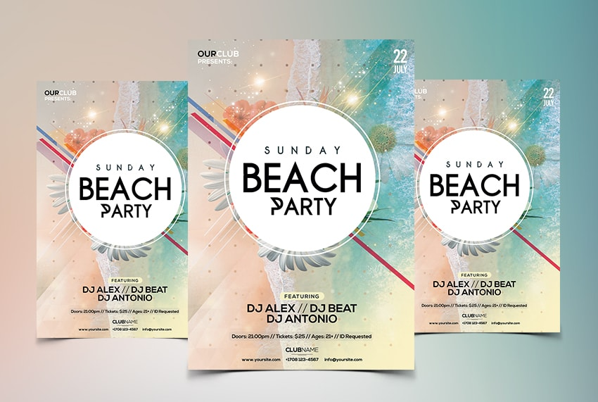 Party on Beach Free PSD Flyer Template