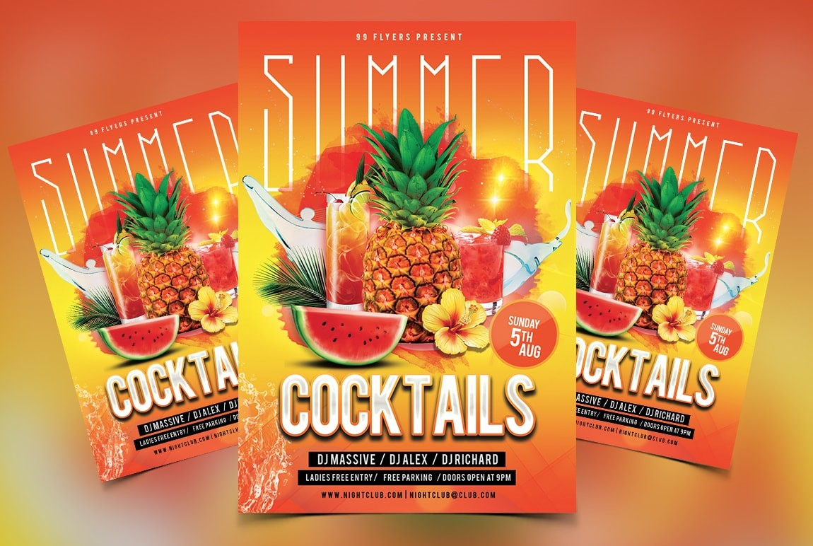 Summer Drinks Free PSD Flyer Template