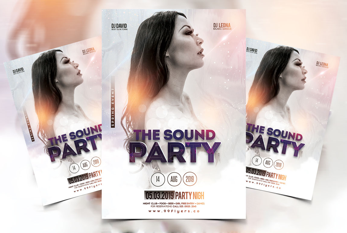 White Sound Free Party PSD Flyer Template