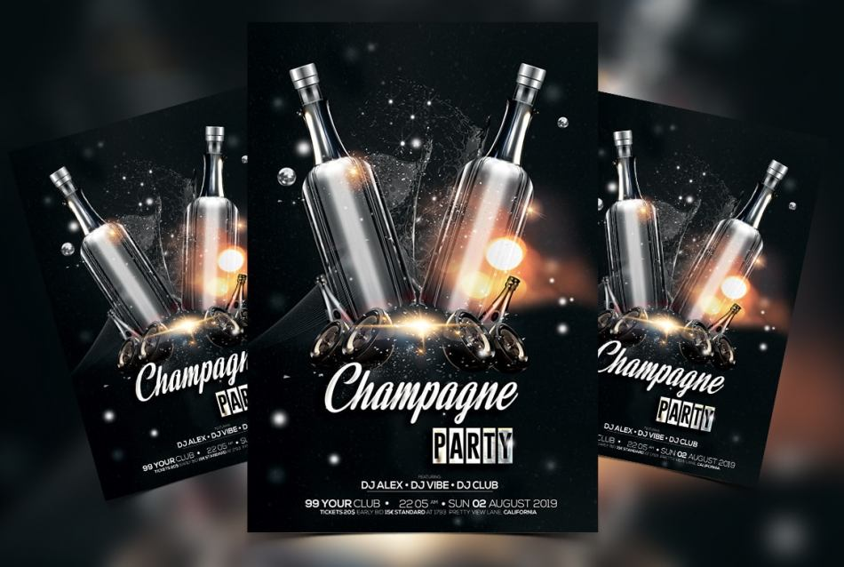 Champagne Party – Black & Gold Free PSD Flyer