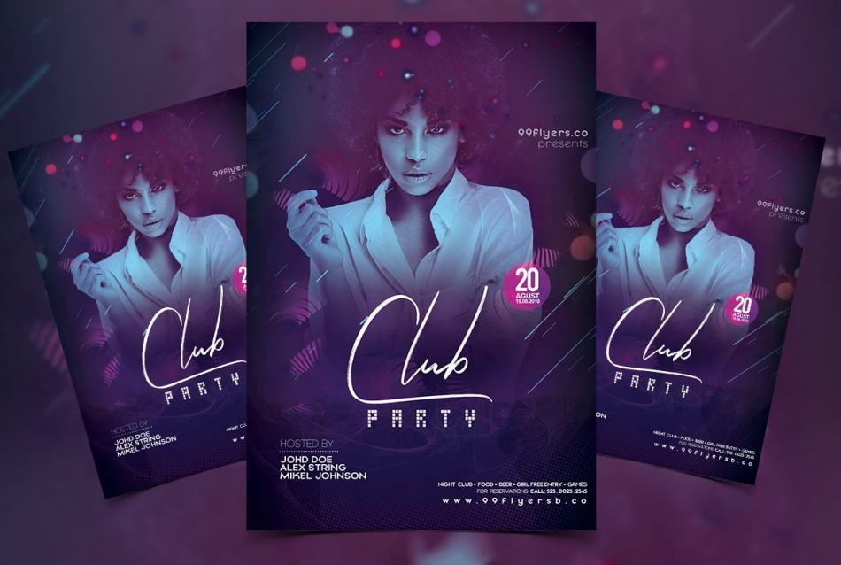 Club DJ Party Free PSD Flyer Template