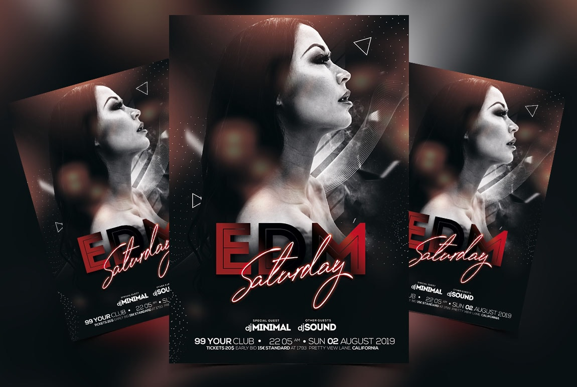 Edm Saturday Free PSD Flyer Template