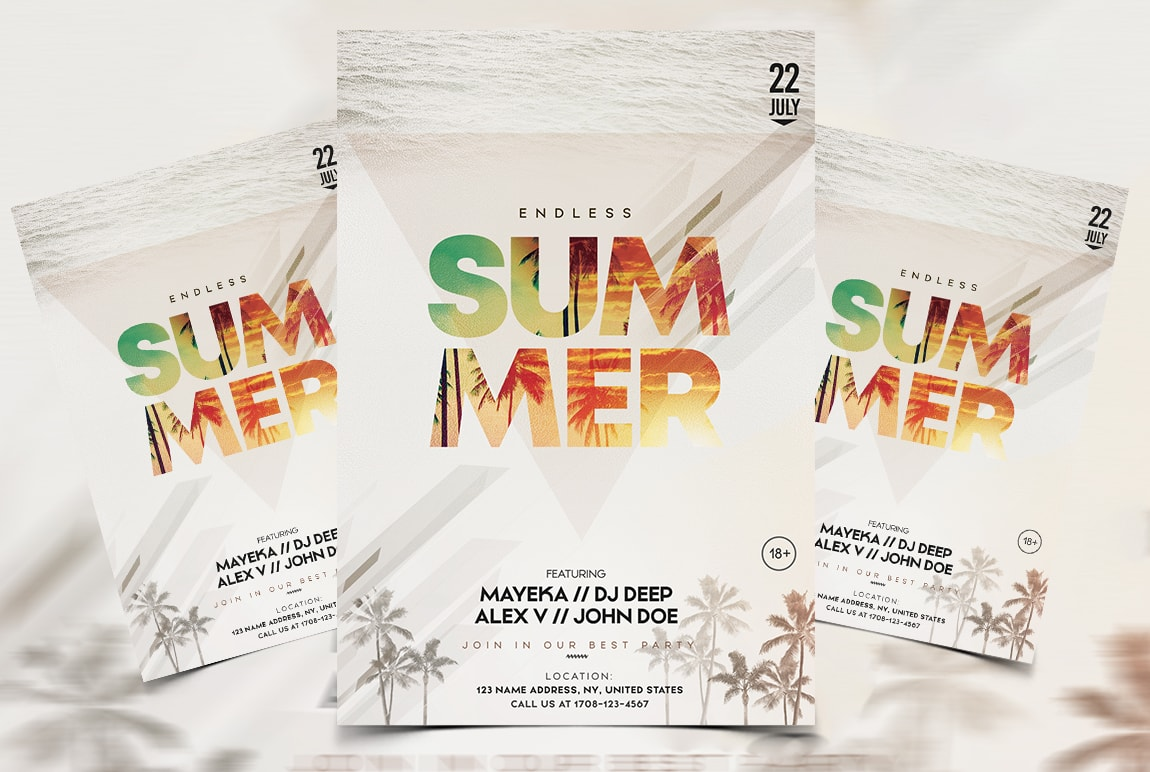 Endless Summer Free PSD Flyer Template