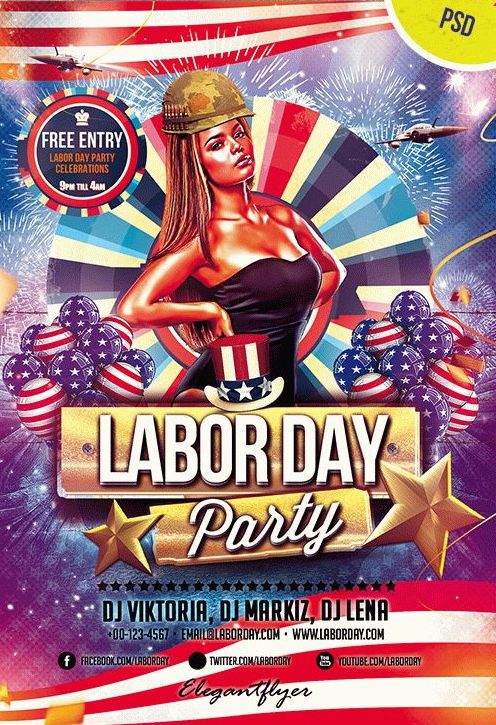 Labor Day – Club and Party Free Flyer PSD Template - psdFlyer co