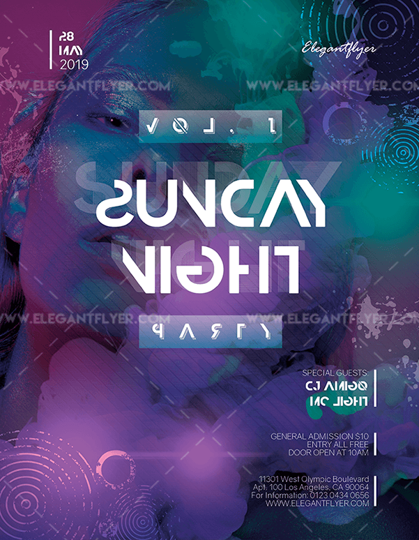 Night Club Saturday – Free PSD Flyer Template