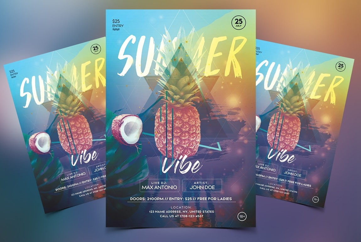 Tropical Vibes Free PSD Flyer Template