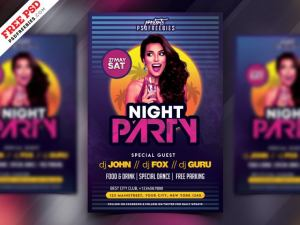 80's Party PSD Free Flyer Template
