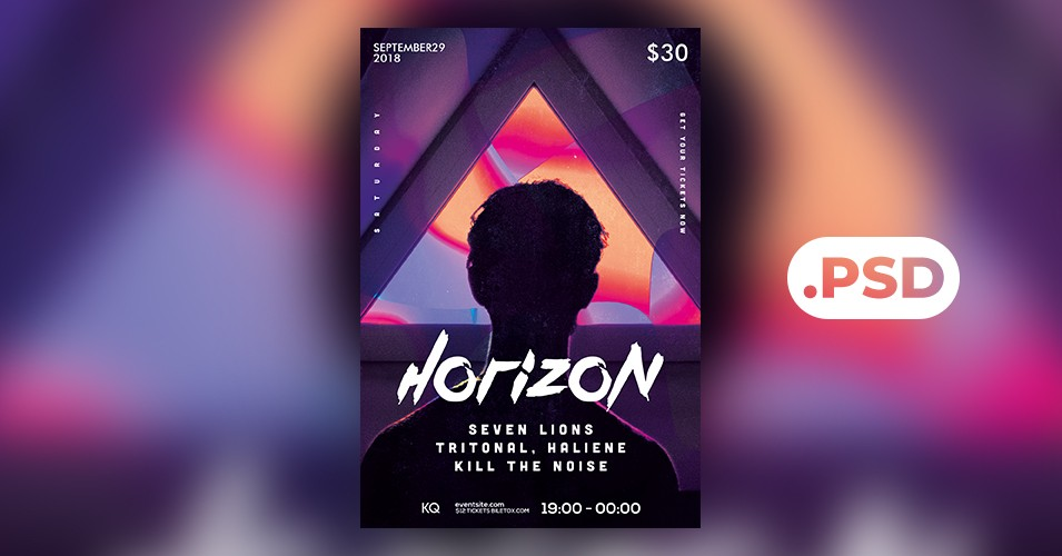 Geometric Party PSD Free Flyer Template