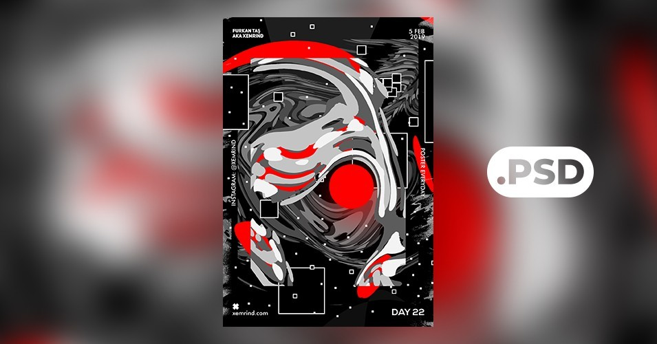 Geometric Techno Free PSD Flyer Template