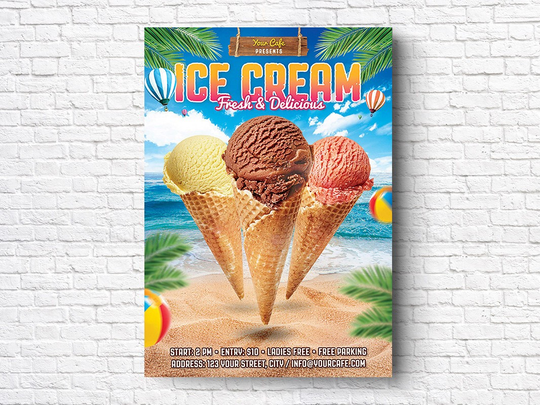 Ice Cream Free Summer PSD Flyer Template