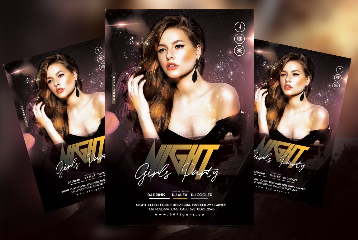 Ladies Night - Black & Gold Free PSD Flyer Template