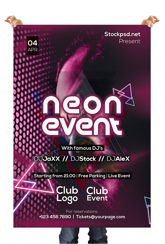 Neon & Glow Free PSD Flyer Template