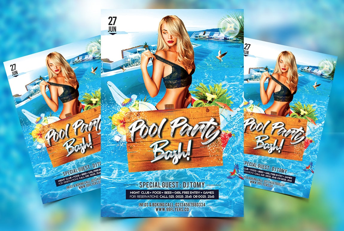 Pool Party Bash Free PSD Flyer Template