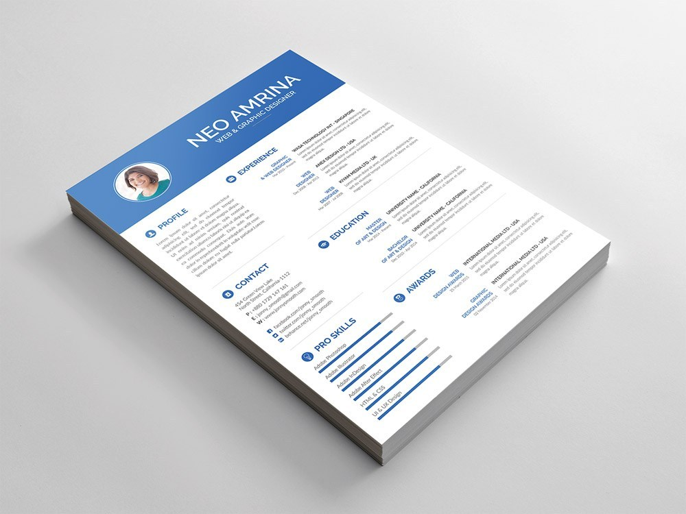 Simple Resume Free PSD Template