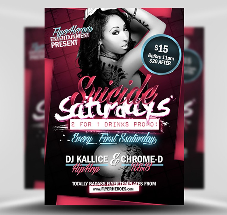 Suicide Saturdays Free Flyer Template