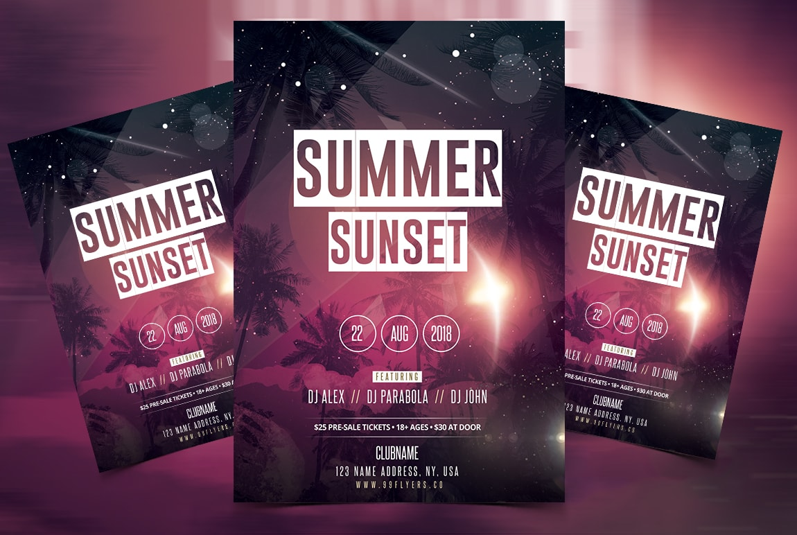 Summer Sunset Party Free PSD Flyer Template - psdFlyer co