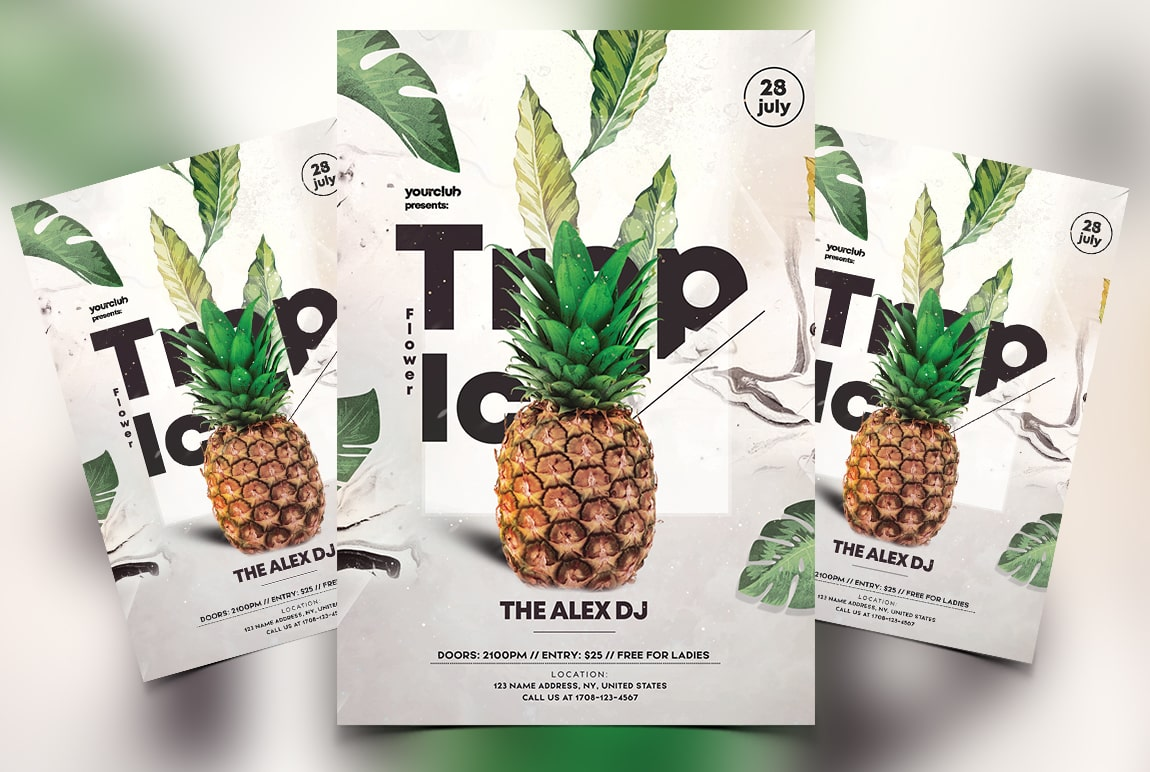Tropical Floral Free PSD Flyer Template