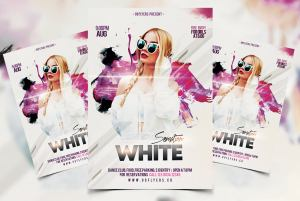 White Sensation Party Free PSD Flyer Template