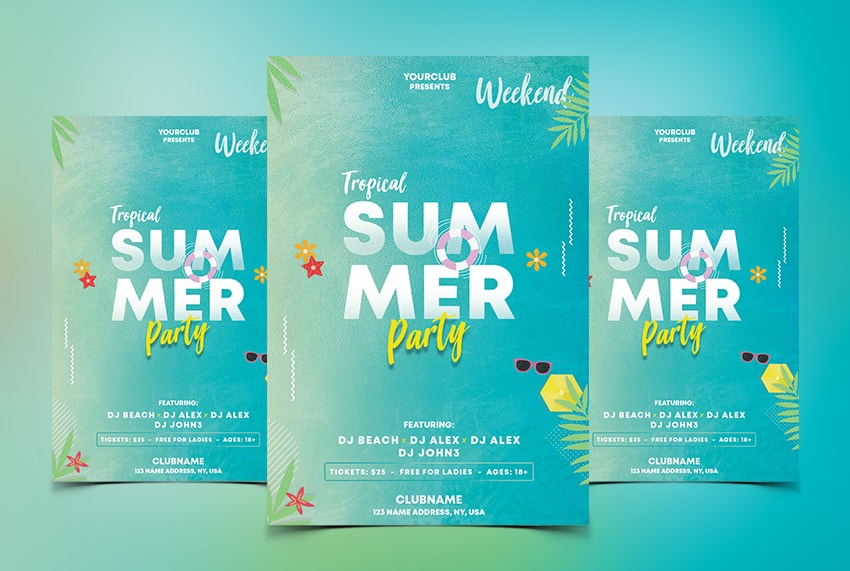 Tropical Weekend - Free Summer PSD Flyer Template