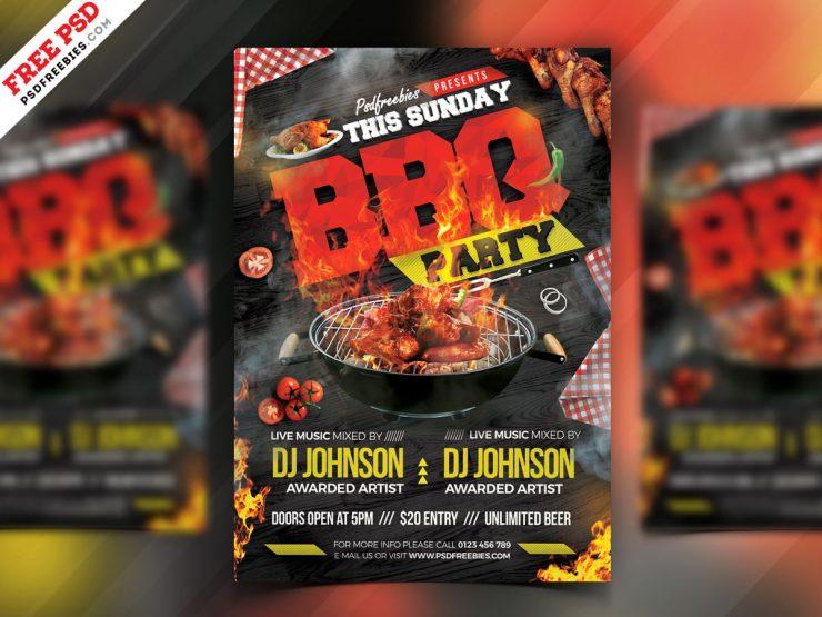 Backyard BBQ Party Free PSD Flyer
