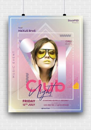 Club Abstract Free PSD Poster Template