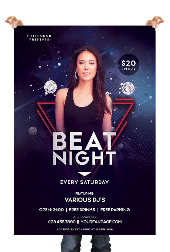 Club Night DJ PSD Free Flyer Template