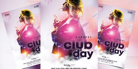Club Vibe Party Free PSD Flyer Template