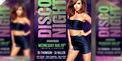 Disco Night Free Party PSD Flyer Template