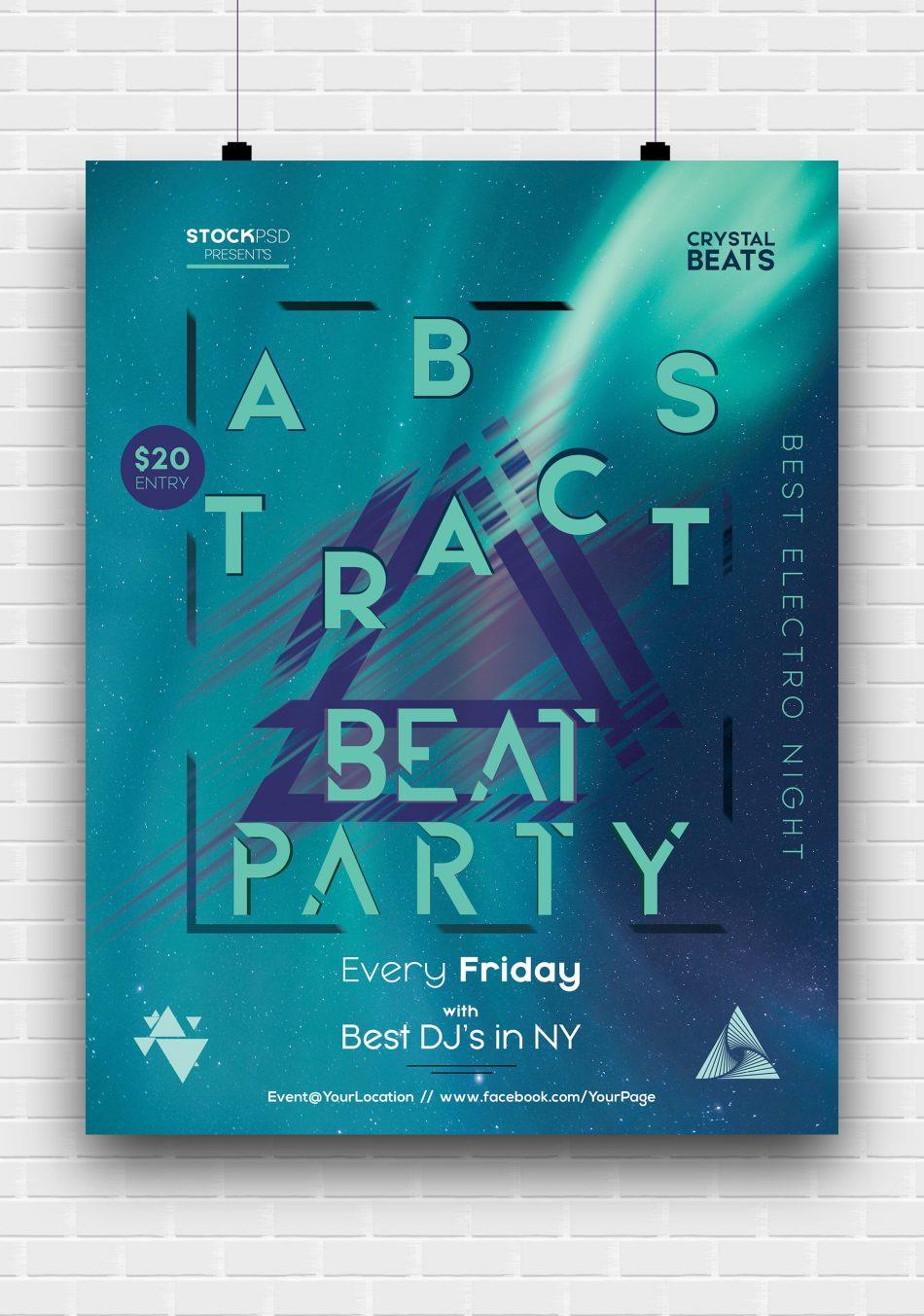 EDM DJ Party Free PSD Flyer Template