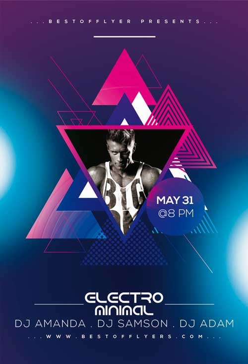 Electro Music PSD Free Flyer Template