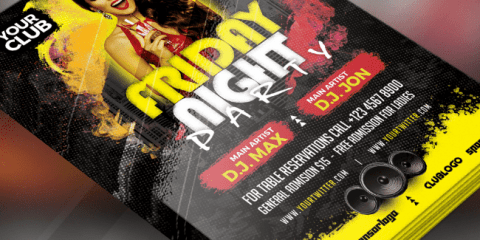 Friday Night Party Free PSD Flyers Templates