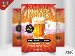 Happy Hour Beer Free PSD Flyer Template