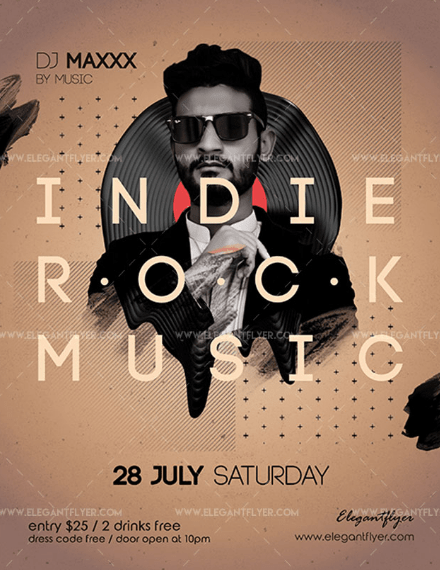 Indie Rock Music Free PSD Flyer Template