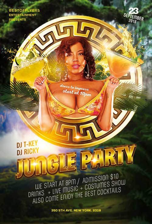 Jungle Summer Party Free PSD Flyer Template