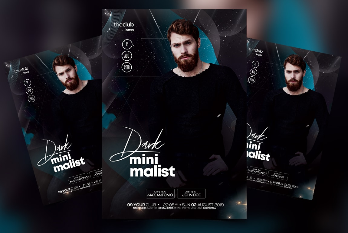 Minimalist Dark Party Free PSD Flyer Template