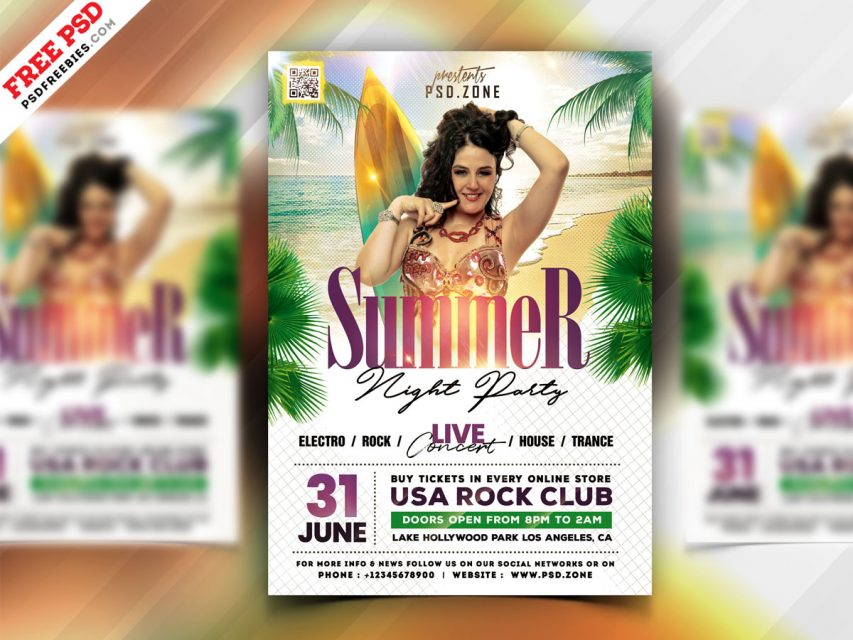 Party in Beach - Free Summer PSD Flyer Template