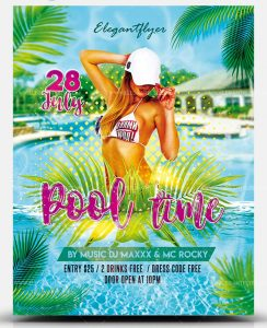 Pool Day PSD Free Flyer Template