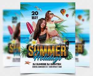 Summer Holidays PSD Free Flyer Template