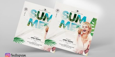 The Summer Beach Event PSD Free Flyer Template