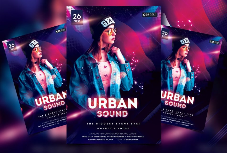 Urban Sound Free PSD Flyer Template