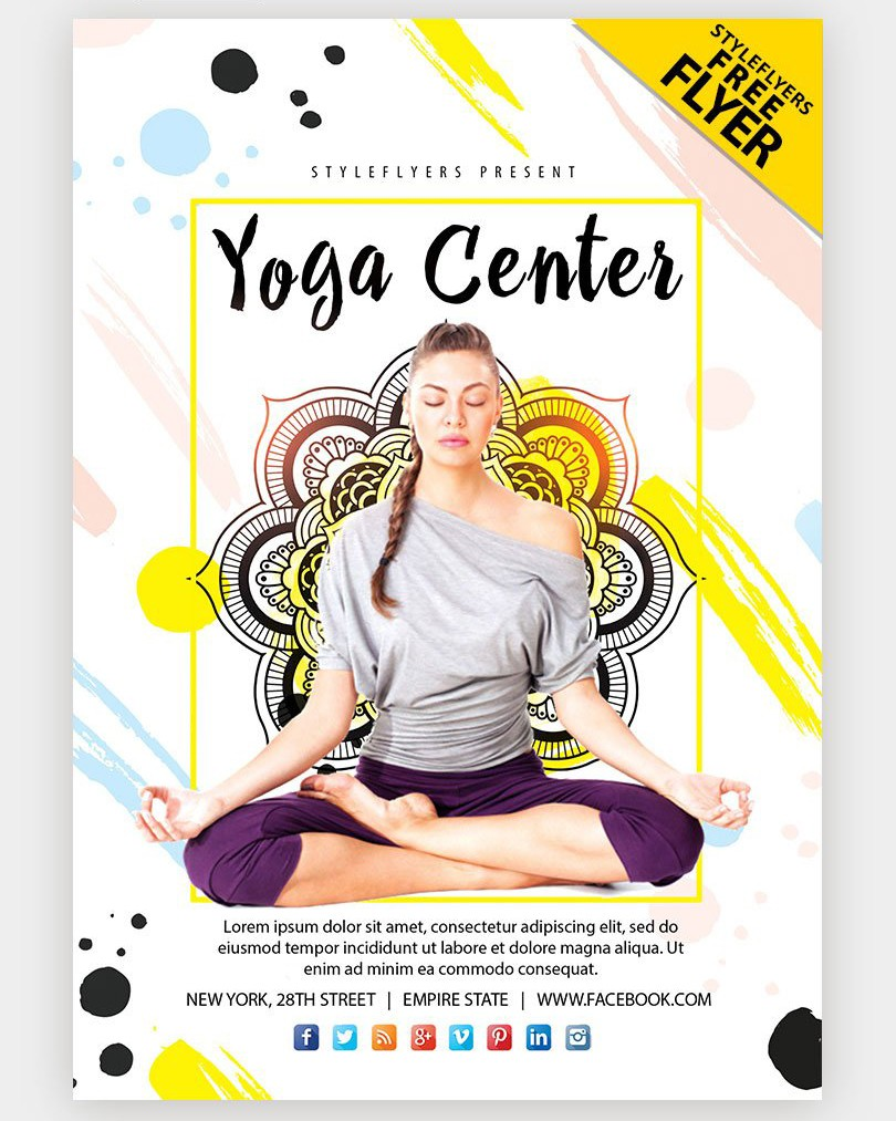 Yoga Studio Free Colorful Psd Flyer Template Psdflyer