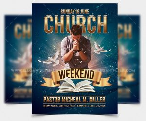 Weekend Church – Free Pastor PSD Flyer Template